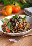 Spaghetti with squid ink Royalty Free Stock Photo