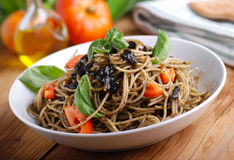 Spaghetti with squid ink Stock Photo