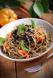 Spaghetti with squid ink Royalty Free Stock Image