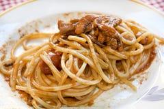 Spaghetti with squid sauce Royalty Free Stock Photos