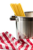 Spaghetti in a stainless steel pot Stock Photo
