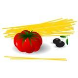 Spaghetti. Still life, spaghetti, tomato and olives Stock Photography