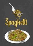 Spaghetti sulla forcella e sul piatto Colore dell'incisione Fotografia Stock