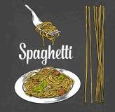 Spaghetti sulla forcella e sul piatto Vector l'illustrazione nera d'annata dell'incisione su fondo bianco Immagine Stock Libera da Diritti