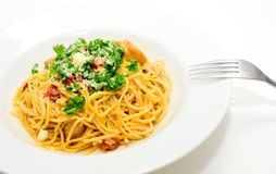 Spaghetti with sun-dried tomatoes Royalty Free Stock Photography