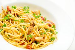 Spaghetti with sun-dried tomatoes Stock Photography