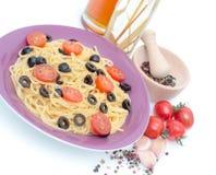 Spaghetti sur le blanc Photos libres de droits