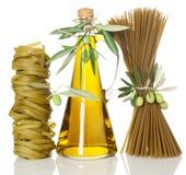 Spaghetti and Tagliatelle pasta of spinach Stock Image