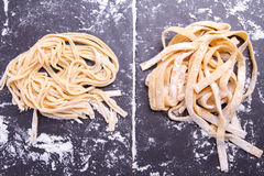 Spaghetti and tagliatelle Royalty Free Stock Photography
