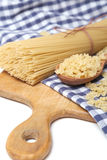 Spaghetti on textile Stock Photography