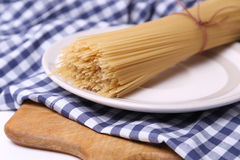 Spaghetti on textile Stock Photography