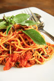 Spaghetti with Thai style sauce Royalty Free Stock Photography