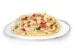 Spaghetti tirés par la main Photographie stock