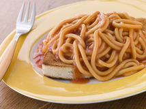 Spaghetti on Toast Stock Photo