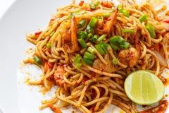 Spaghetti Tom Yum Kung Stock Afbeeldingen