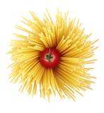 Spaghetti and tomato. Isolated on white Royalty Free Stock Image