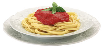 Spaghetti with tomato. Italian spaghetti with tomato and basil Royalty Free Stock Photography