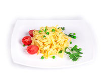 Spaghetti with tomato basil and cheese. Stock Image