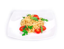 Spaghetti with tomato basil and cheese. Stock Images