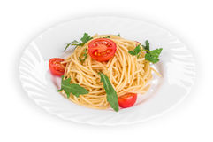 Spaghetti with tomato basil and cheese. Royalty Free Stock Photo