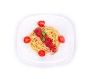 Spaghetti with tomato basil and cheese. Stock Photo