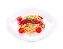 Spaghetti with tomato basil Royalty Free Stock Photos
