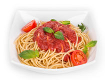 Spaghetti with tomato basil and cheese. Royalty Free Stock Photography