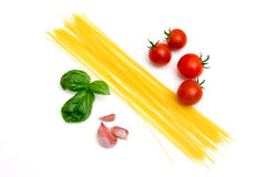 Spaghetti with tomato and basil Royalty Free Stock Image