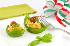 Spaghetti with tomato, basil and parmesan Royalty Free Stock Photo