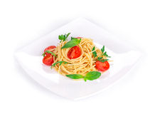 Spaghetti with tomato basil. Royalty Free Stock Images