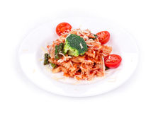Spaghetti with tomato and basil. Royalty Free Stock Photo