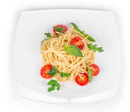 Spaghetti with tomato and basil. Royalty Free Stock Photo
