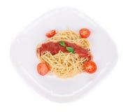 Spaghetti with tomato basil. Royalty Free Stock Photography