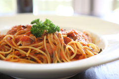 Spaghetti with tomato beef sauce Royalty Free Stock Image