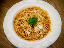 Spaghetti tomato cream sauce Royalty Free Stock Photo