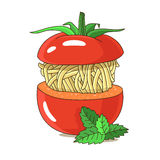 Spaghetti in tomato decorated with basil leaves Royalty Free Stock Images