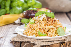Spaghetti and Tomato Pesto Stock Photos