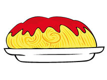 Spaghetti with tomato sauce. stock illustration