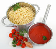 Spaghetti and tomato sauce Royalty Free Stock Photos