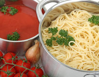 Spaghetti and tomato sauce Stock Photography