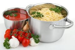 Spaghetti and tomato sauce Royalty Free Stock Images