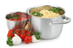 Spaghetti and tomato sauce Stock Photo