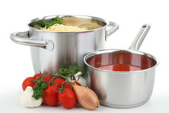 Spaghetti and tomato sauce Stock Images