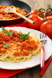 Spaghetti with tomato sauce. Stock Photos