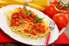 Spaghetti with tomato sauce. Royalty Free Stock Photos