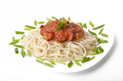 Spaghetti with tomato sauce. And sausage Royalty Free Stock Photography