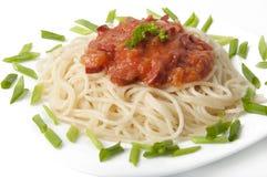 Spaghetti with tomato sauce. And sausage Stock Photo