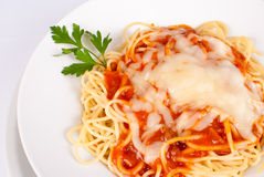 Spaghetti in tomato sauce Royalty Free Stock Image