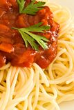 Spaghetti and tomato sauce Stock Image
