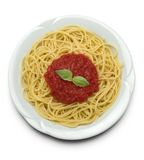 Spaghetti with tomato sauce stock photos